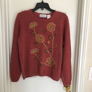 Alfred Dunner embroiderer sweater womens sz PL